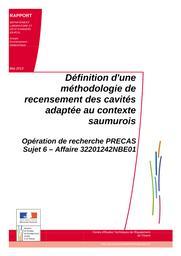 Définition d'une méthodologie de recensement des cavités adaptée au contexte saumurois : Opération de recherche PRECAS, Sujet 6 | BERENGER, Nathalie. Auteur