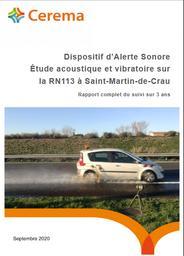 Dispositif d'Alerte Sonore. Etude acoustique et vibratoire sur la RN113 à Saint-Martin-de-Crau. Rapport complet de suivi sur 3 ans | POT, Geoffrey. Auteur